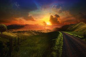 road sky sunlight landscape dirt road sunset