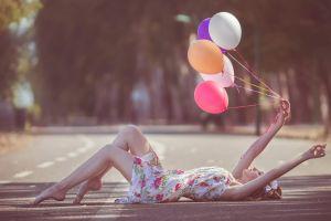 road women outdoors balloon model outdoors women
