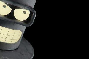 robot black background futurama minimalism bender