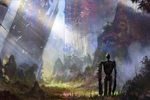 robot cyberpunk anime artwork castle in the sky studio ghibli concept art