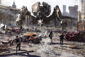 robot mech concept art war destruction artwork