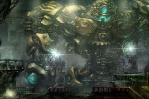 robot mech cyberpunk fantasy art artwork