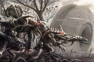 robot mech destruction fantasy art war artwork concept art