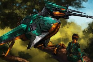 robot nature fantasy art birds mech futuristic artwork