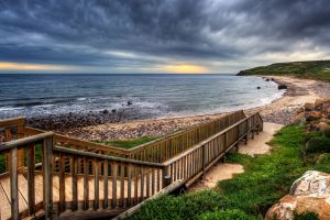 rock clouds sea stones coast sky nature hdr landscape stairs