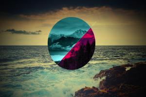 rock digital art sea polyscape