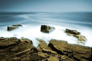 rock nature sky horizon sea