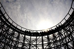 rollercoasters wood sky