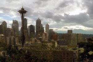ruin building cityscape futuristic city apocalyptic digital art seattle