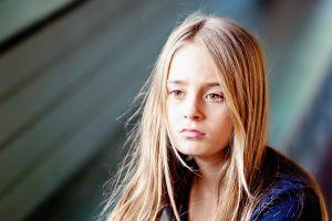 sadness children portrait blonde looking away yellow eyes women hazel eyes
