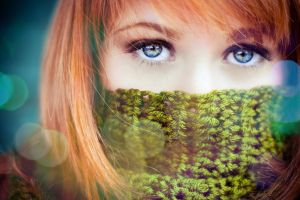 scarf redhead women blue eyes looking at viewer