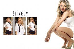 school uniform collage tie blonde blouses open-toed shoes skirt blake lively heels schoolgirl white dress legs squatting women
