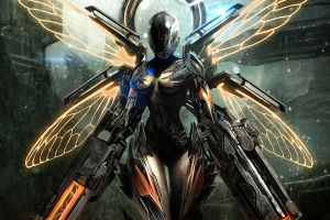 science fiction artwork women futuristic weapon wings digital art