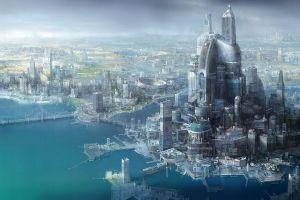 science fiction cityscape futuristic city