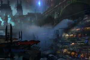 science fiction cyberpunk futuristic city futuristic artwork