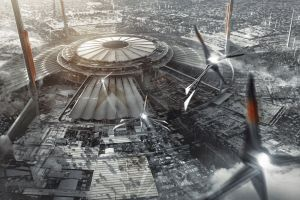 science fiction digital art futuristic city