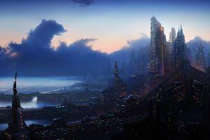 science fiction digital art futuristic cityscape futuristic city fantasy art
