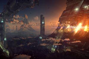 science fiction futuristic city digital art futuristic