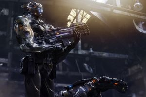 science fiction gun cgi render futuristic weapon machine gun cyborg digital art robot