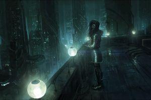 science fiction headphones futuristic cityscape