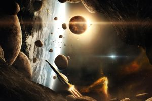 science fiction planet space art spaceship rock space