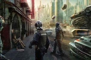 science fiction police cyberpunk futuristic