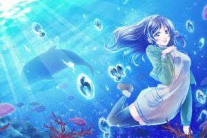 sea anime girls fish water underwater chisaki hiradaira nagi no asukara dolphin