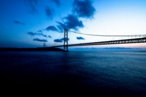 sea blue bridge sky