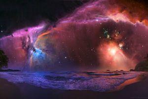 sea digital art beach space art nebula space night sky