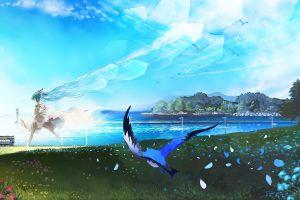 sea flowers anime anime girls running hatsune miku birds train vocaloid