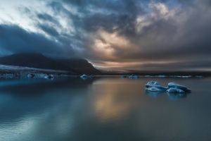 sea ice clouds iceland nature mountains