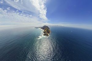 sea landscape clouds island horizon