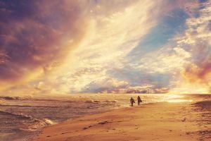 sea landscape clouds people beach sky sun
