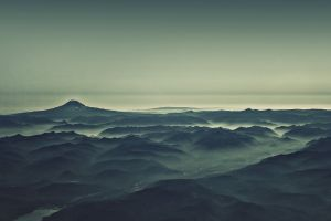 sea landscape sky mountains photo manipulation hills digital toning nature water mist