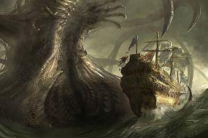 sea monsters fantasy art sea ship creature