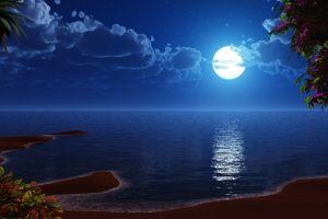 sea moon landscape artwork beach