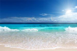 sea nature clouds beach sunlight