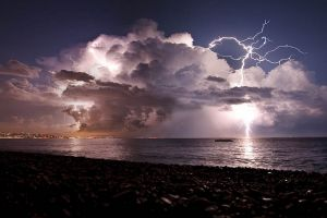 sea nature clouds storm lightning beach coast