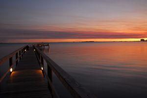 sea nature sunset pier landscape