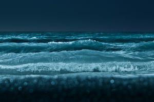 sea night water waves