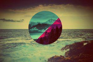 sea polyscape circle digital art nature