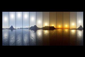 sea reflection nature digital art collage sunset