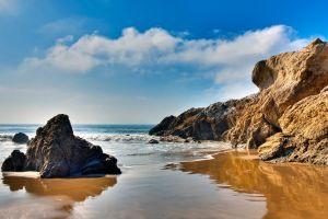 sea rock beach nature horizon