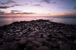 sea rock formation sunset nature clouds ireland giant's causeway coast