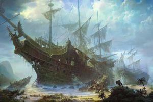 sea shipwreck fantasy art old ship