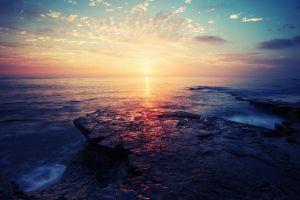 sea sunset nature landscape horizon sky