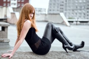 see-through clothing long hair leather clothing leather boots leather women urban model sitting black clothing street redhead women outdoors high heels