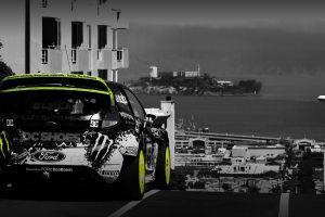selective coloring alcatraz rally cars san francisco ford rear view ken block car