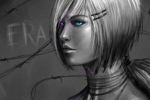 selective coloring science fiction monochrome blue eyes face plastic cyborg eyes women artwork