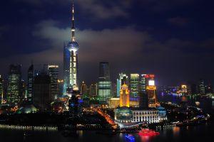 shanghai night cityscape